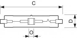 Лампа Philips MASTERColour CDM-TD 220V 150W/830, 3000K RX7s (металлогалогенная керамическая)