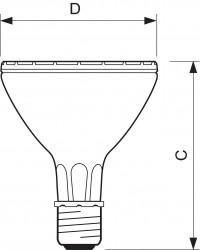 Лампа PHILIPS PAR 30  CDM-R 70/942   10°  E27 (защ. стекло призмат.)